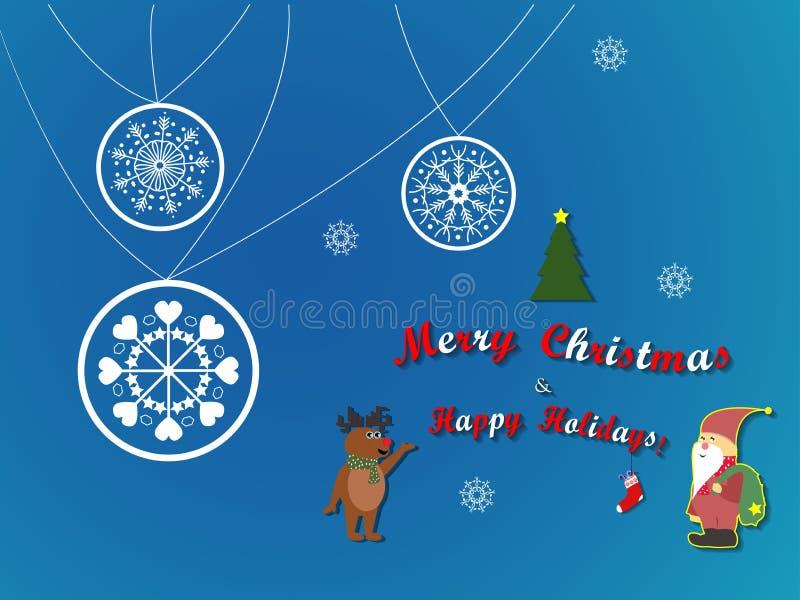 Illustrazione dei caratteri di Buon Natale renna e di Santa Christmas immagine stock