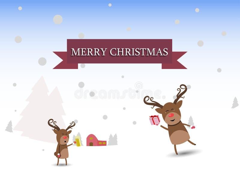 Illustrazione dei caratteri di Natale della renna di Buon Natale fotografia stock libera da diritti