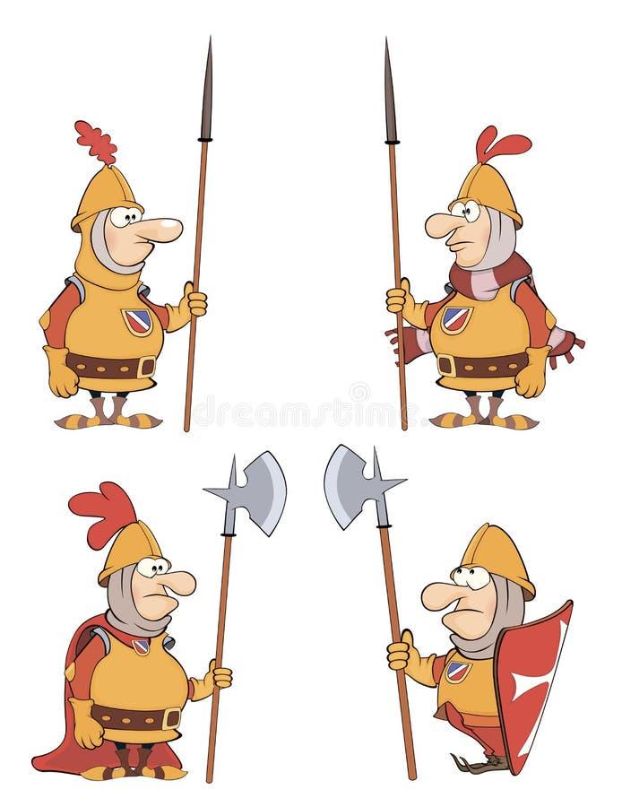 Illustrazione dei cavalieri del fumetto di umore messi illustrazione vettoriale