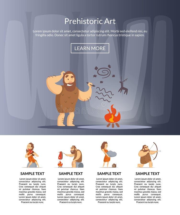 Illustrazione dei cavernicoli del fumetto di vettore illustrazione vettoriale