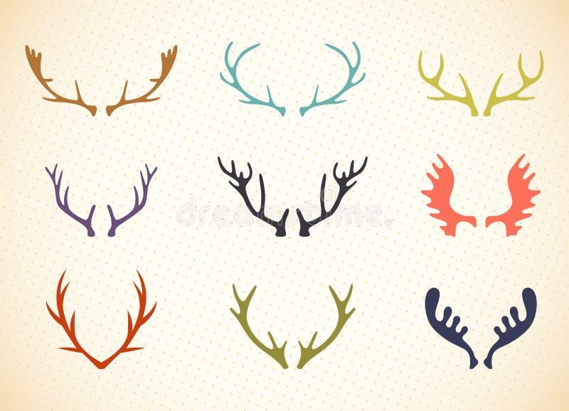 Illustrazione dei corni della renna nel vettore illustrazione vettoriale