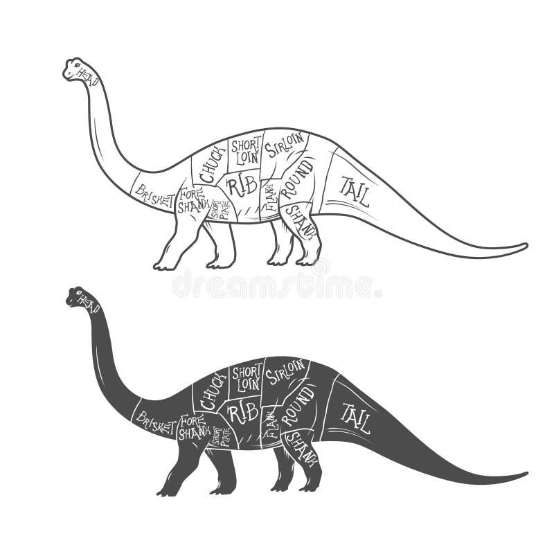 Illustrazione dei dinosauri con lo schema tagliato su fondo bianco Vettore illustrazione di stock