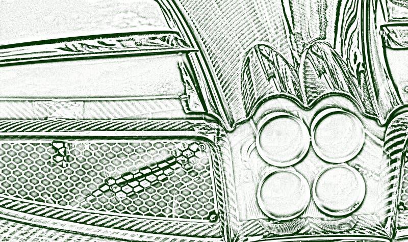 Illustrazione dei fari retroriflettenti stilizzati di un'auto sportiva illustrazione vettoriale