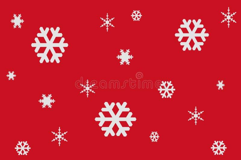 Illustrazione dei fiocchi di neve bianchi su fondo rosso illustrazione vettoriale