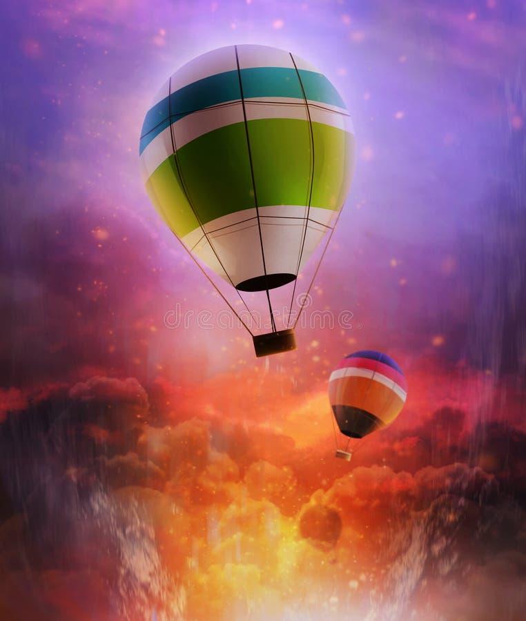 Illustrazione dei palloni in cieli illustrazione di stock