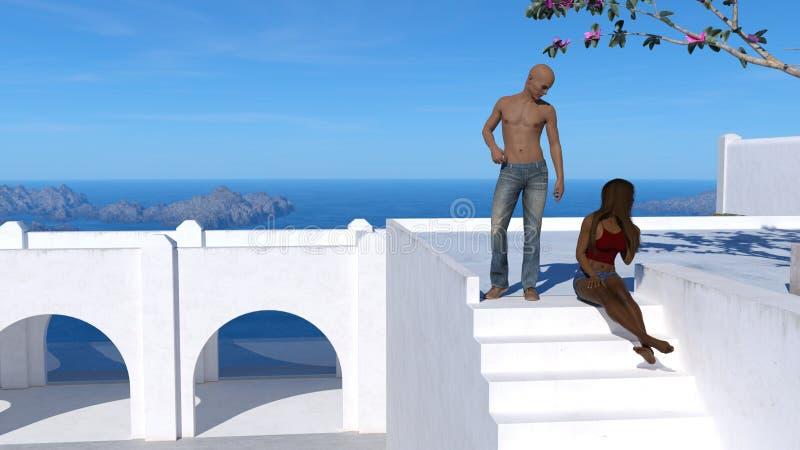 Illustrazione dei pantaloni d'uso di un uomo chested nudo calvo che stanno su una piattaforma che esamina giù una donna che si si royalty illustrazione gratis
