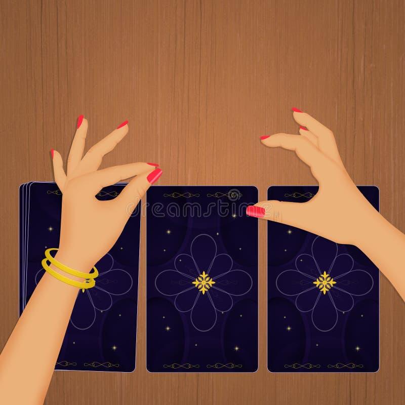 Illustrazione dei tarots sulla tavola royalty illustrazione gratis