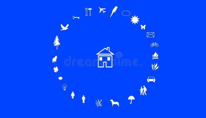 Illustrazione dei valori familiari Una casa in mezzo ad un cerchio con i valori familiari fotografie stock