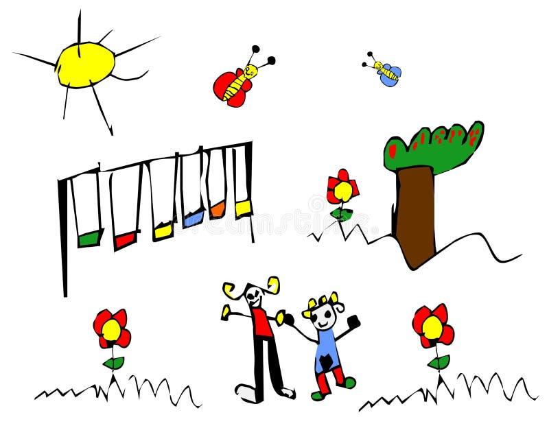 Illustrazione del bambino di tempo di sorgente illustrazione vettoriale