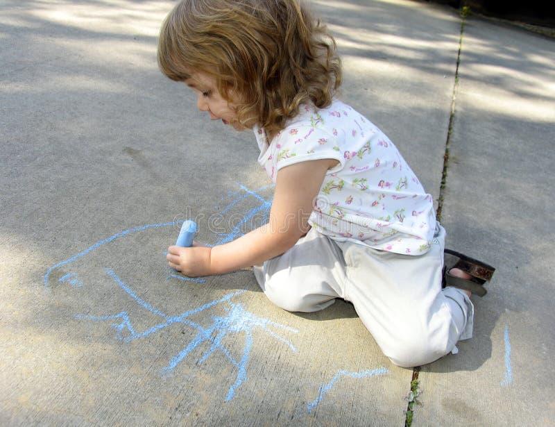 Illustrazione del bambino sul marciapiede fotografie stock