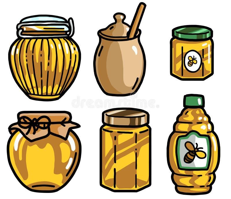 Illustrazione del barattolo del miele, scarabocchio, schizzo, disegno, vettore illustrazione vettoriale