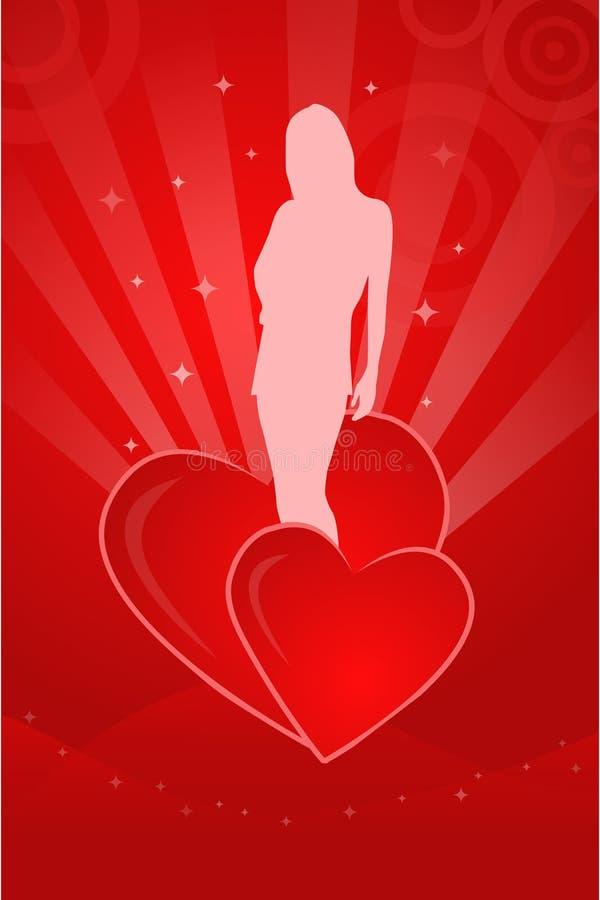 Illustrazione del biglietto di S. Valentino con la siluetta della ragazza royalty illustrazione gratis