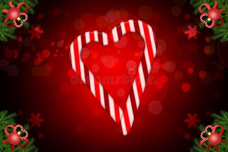 Illustrazione del bokeh di Natale con la barra di sezione della caramella un cuore e un abete d'angolo decorati illustrazione di stock