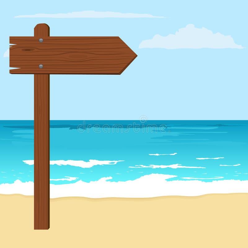 Illustrazione del bordo di legno della freccia dell'avviso su una spiaggia illustrazione vettoriale