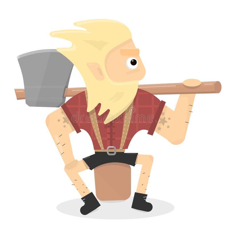 Illustrazione del boscaiolo Il personaggio dei cartoni animati è un uomo brutale con un'ascia che si siede su un ceppo illustrazione di stock