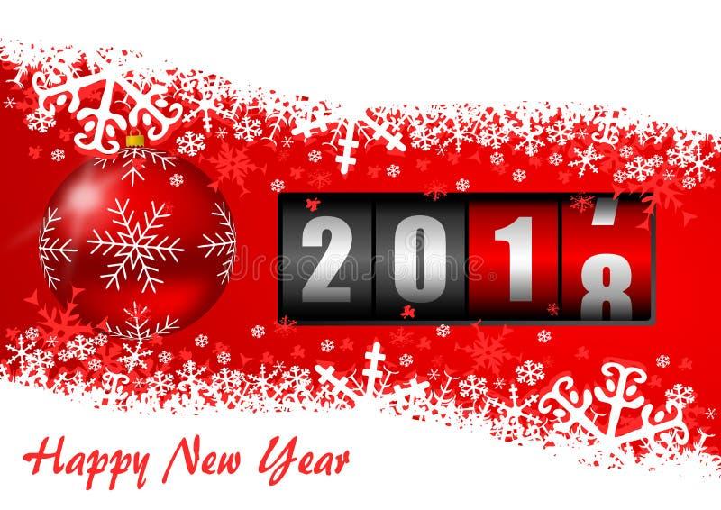 Illustrazione 2018 del buon anno con il contatore, la palla di Natale ed i fiocchi di neve illustrazione vettoriale