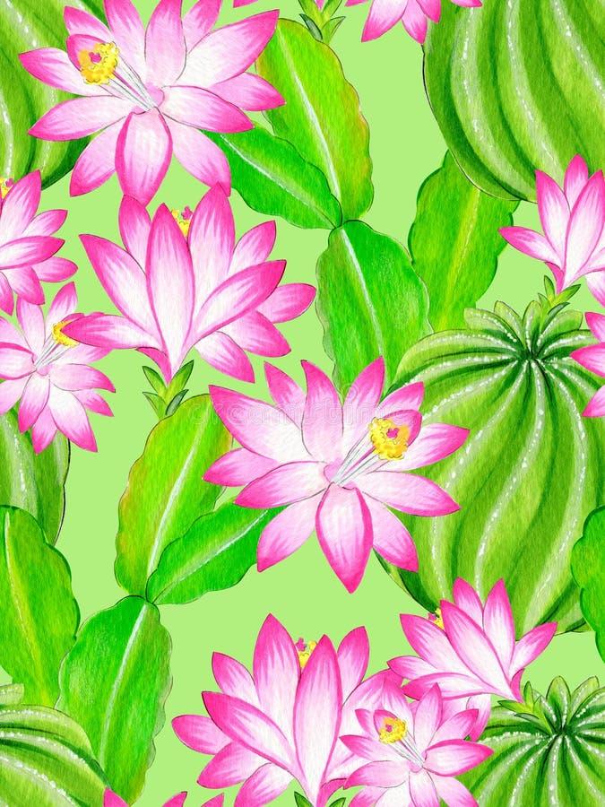 Illustrazione del cactus dell'acquerello, modello senza cuciture illustrazione vettoriale