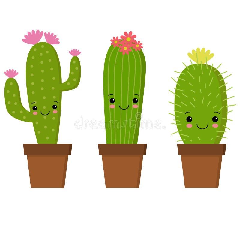 Illustrazione del cactus sveglio del fumetto con il fronte divertente in vaso royalty illustrazione gratis