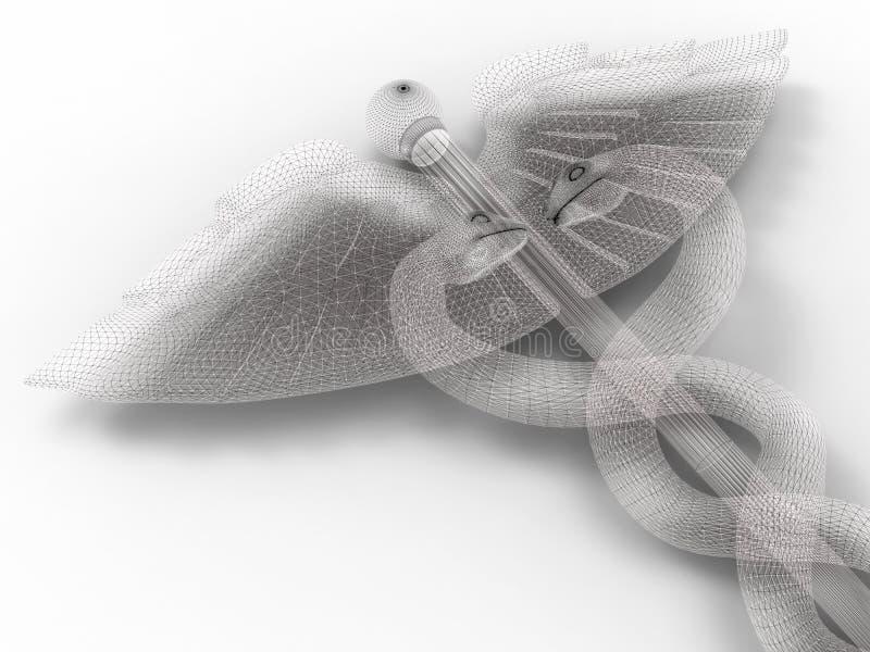 Illustrazione del caduceo di Wireframe illustrazione di stock