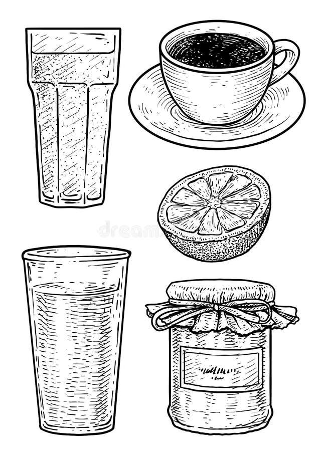 Illustrazione del caffè, del latte, dell'inceppamento e del succo d'arancia, disegno, incisione, inchiostro, linea arte, vettore royalty illustrazione gratis