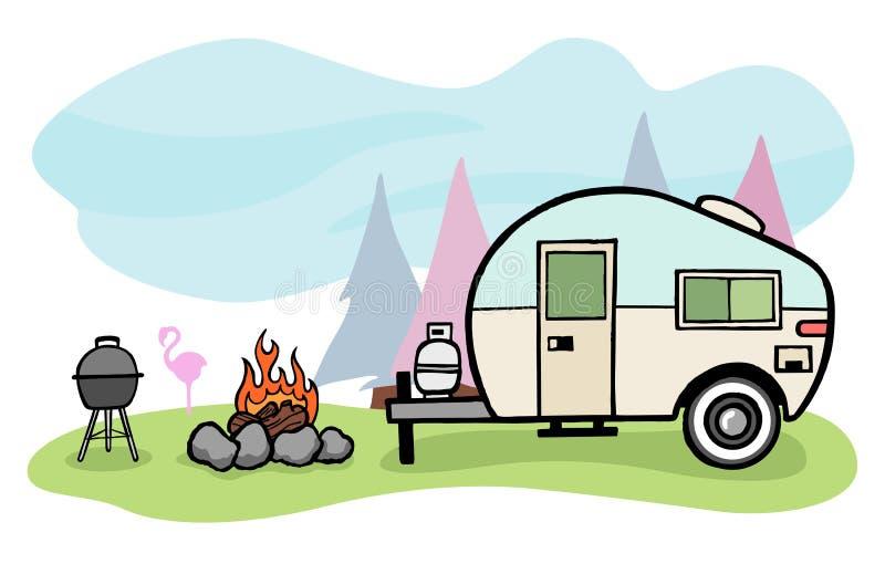 Illustrazione del campeggiatore illustrazione di stock