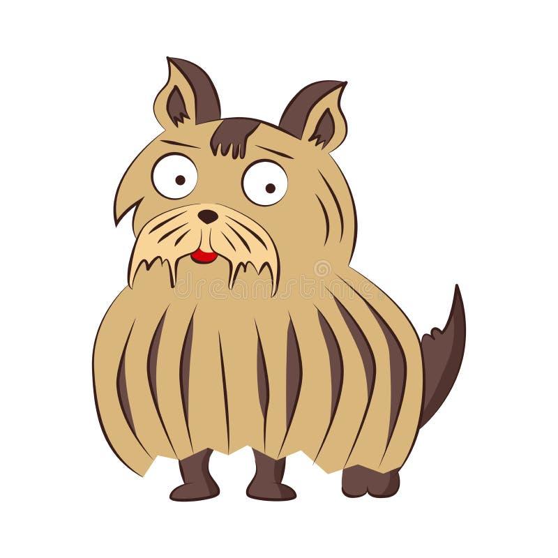 Illustrazione del cane della razza di vettore di grifone di Bruxelles Sittind divertente del carattere dell'animale domestico del illustrazione di stock