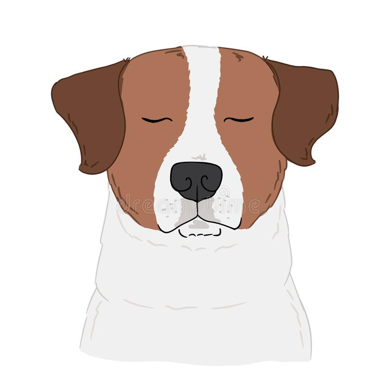 Illustrazione del cane di Jack Russell Terrier su fondo bianco Arte disegnata a mano di vettore del ritratto sveglio del cane di  royalty illustrazione gratis