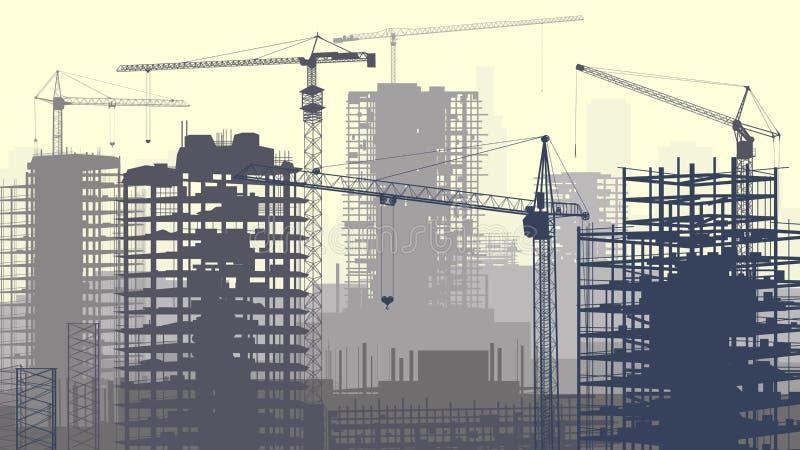 Illustrazione del cantiere con le gru e la costruzione. illustrazione vettoriale