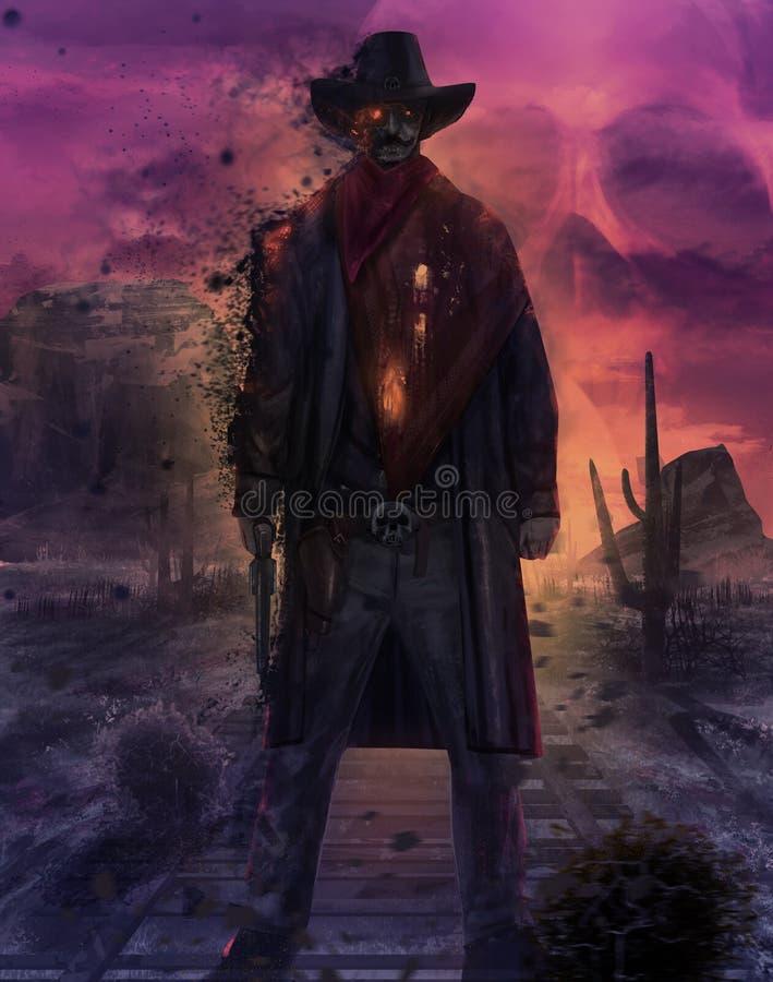 Illustrazione del carattere del cowboy del fantasma illustrazione vettoriale