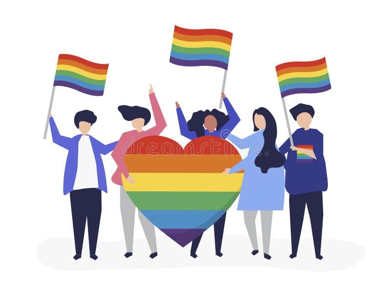 Illustrazione del carattere della gente che tiene le icone di sostegno di LGBT royalty illustrazione gratis