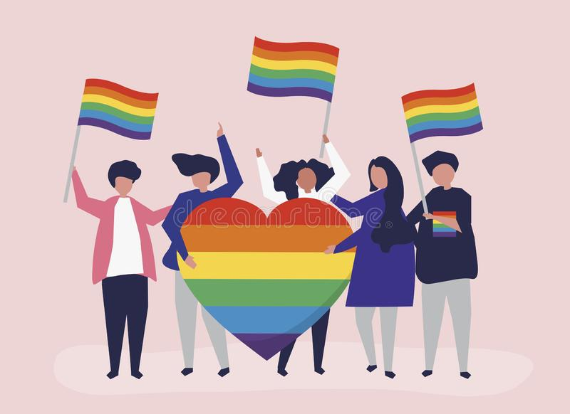 Illustrazione del carattere della gente che tiene le icone di sostegno di LGBT illustrazione vettoriale