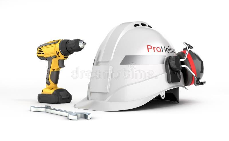 Illustrazione del casco protettivo dell'attrezzatura di riparazione e della costruzione e cacciavite con una chiave isolata su fo royalty illustrazione gratis