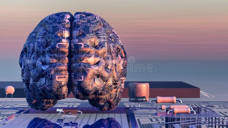 illustrazione del cervello elettronico illustrazione di stock