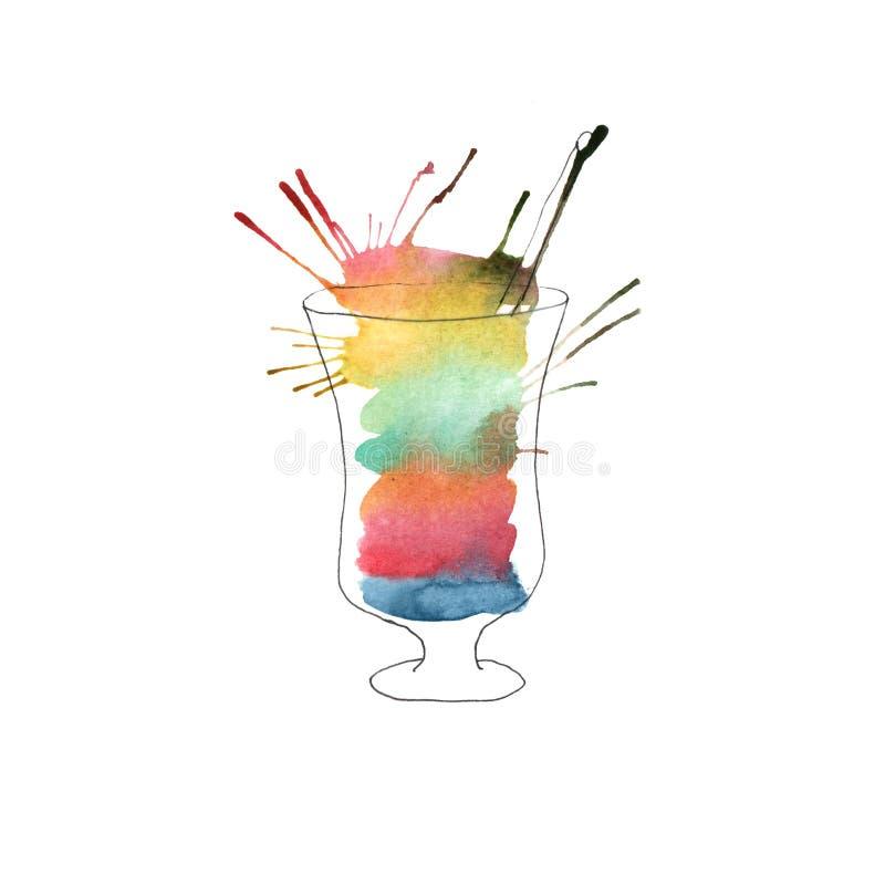 Illustrazione del cocktail dell'acquerello illustrazione di stock