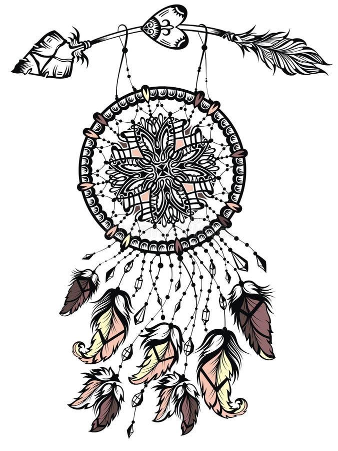 Illustrazione del collettore di sogno con la freccia, manifesto del nativo americano Tatuaggio Design illustrazione vettoriale