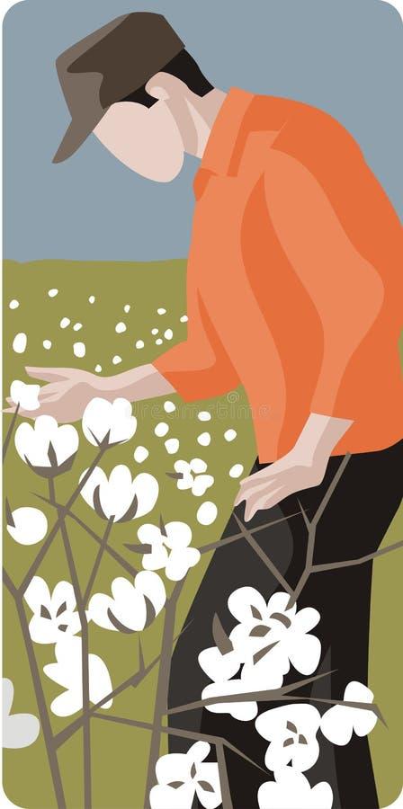 Illustrazione del coltivatore del cotone illustrazione di stock