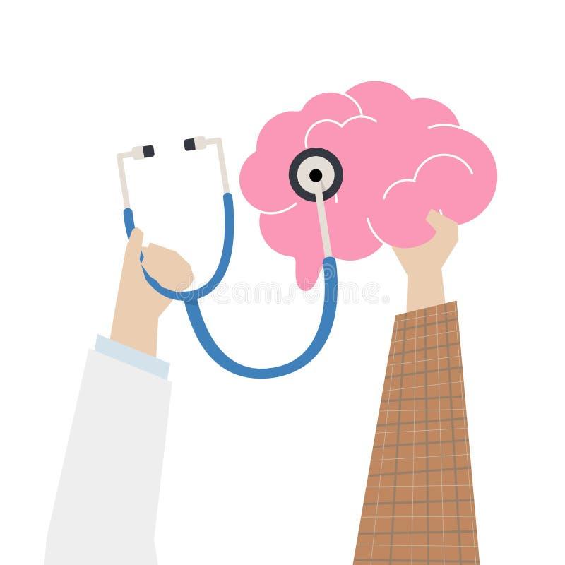 Illustrazione del concetto del controllo del cervello illustrazione vettoriale