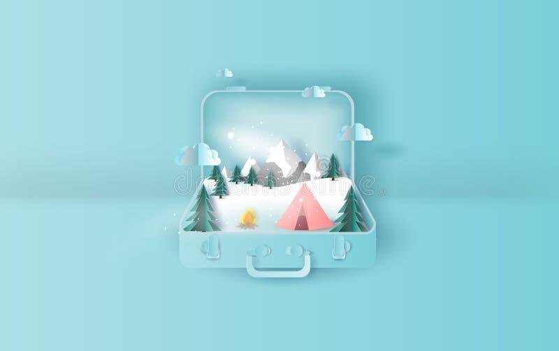 Illustrazione del concetto della valigia di inverno di viaggio di campeggio della tenda di festa di viaggio Grafico per il taglio royalty illustrazione gratis