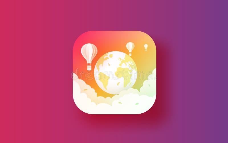 Illustrazione del concetto di viaggio del app e del bottone di ecologia L'ambiente per il viaggio di festa del mondo si rilassa B illustrazione di stock