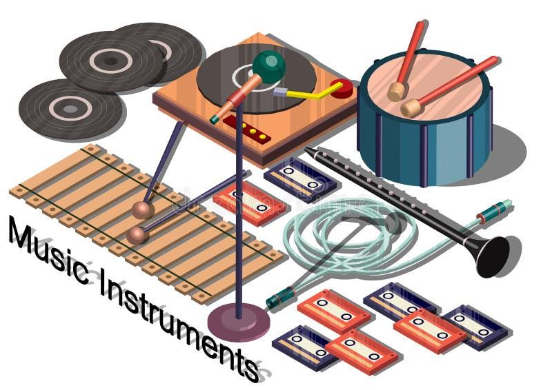 Illustrazione del concetto grafico degli strumenti di musica di informazioni illustrazione vettoriale