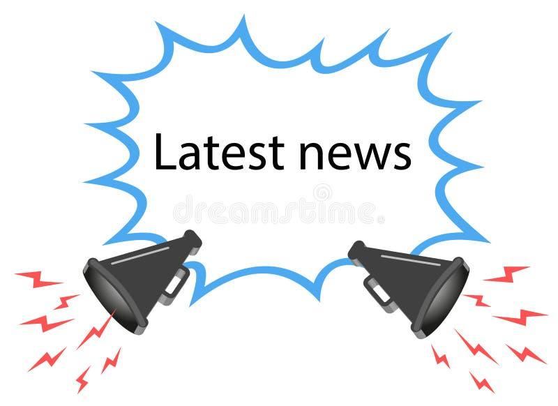 Illustrazione del concetto, vendita, ultime notizie, annunci di vettore sopra un altoparlante, un megafono Fumetto all'altoparlan illustrazione vettoriale