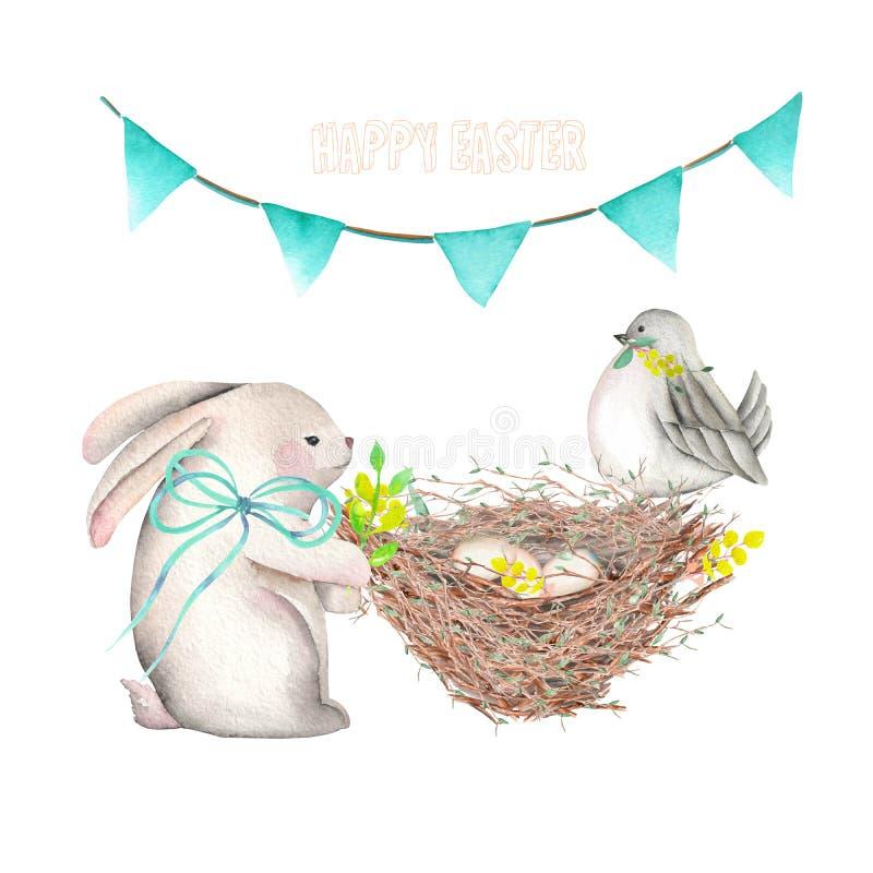 Illustrazione del coniglio di Pasqua dell'acquerello, dell'uccello, del nido con le uova e della ghirlanda festiva con le bandier illustrazione di stock