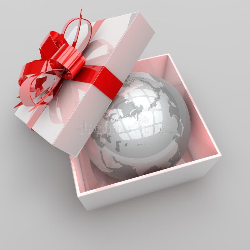 Illustrazione del contenitore di regalo con pianeta Terra illustrazione vettoriale