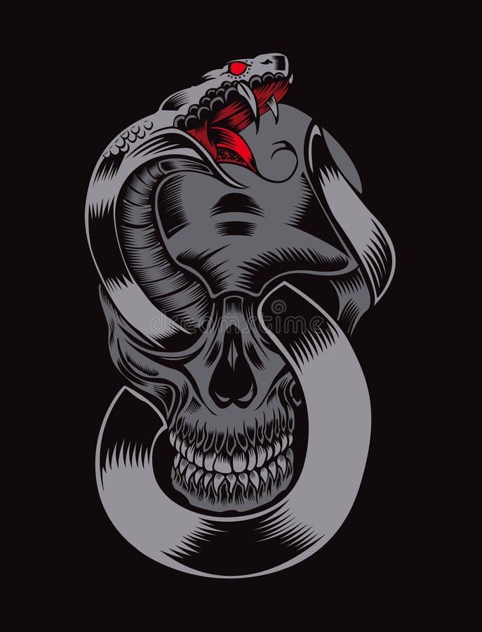 Illustrazione del cranio con la cobra fotografia stock