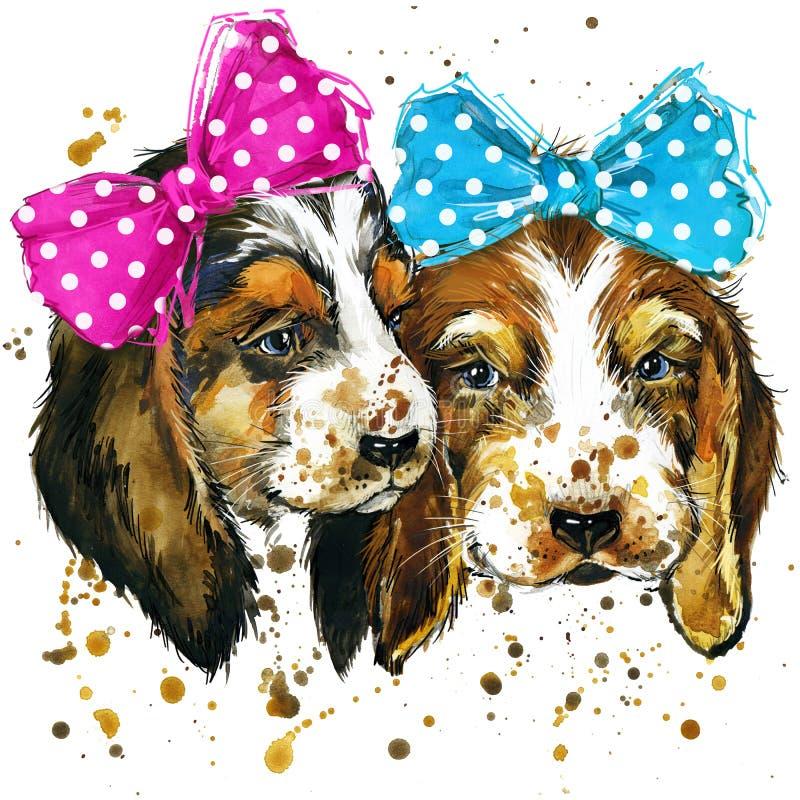 Illustrazione del cucciolo di cane con il fondo strutturato dell'acquerello della spruzzata