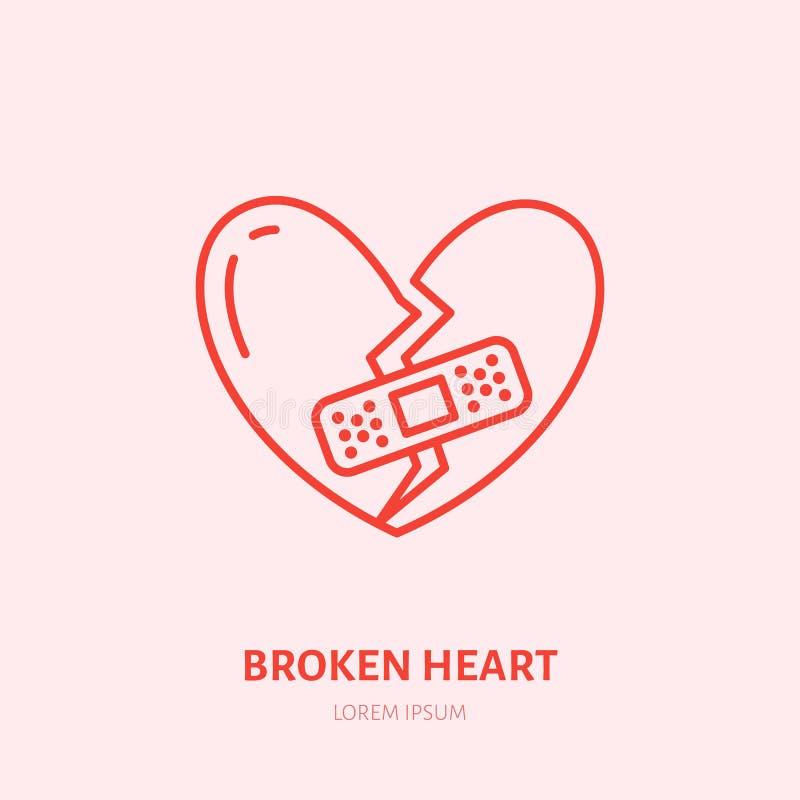 Illustrazione del cuore rotto Linea piana icona, problema di crepacuore di relazione Segno di smembramento illustrazione di stock