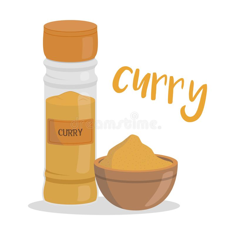 Illustrazione del curry di vettore isolata nello stile del fumetto Nome spagnolo royalty illustrazione gratis
