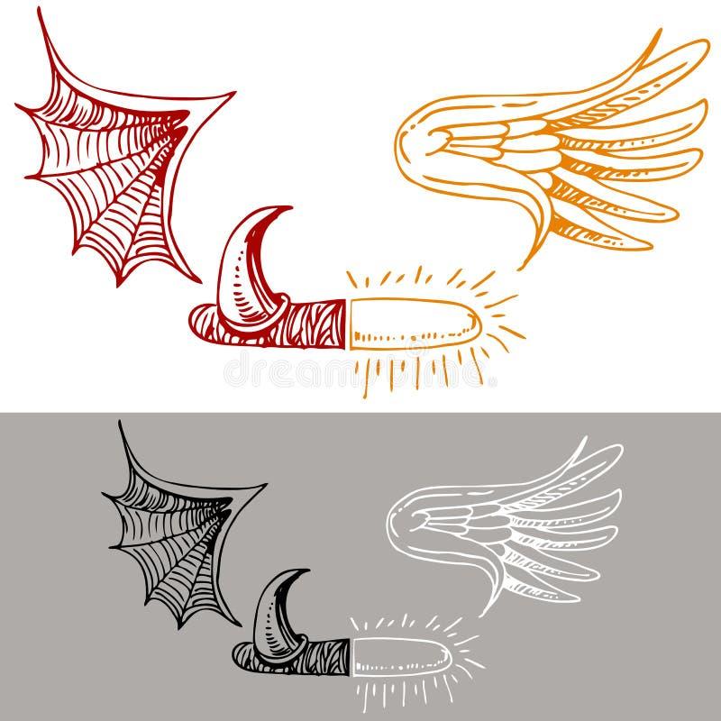 Illustrazione del diavolo di angelo illustrazione vettoriale