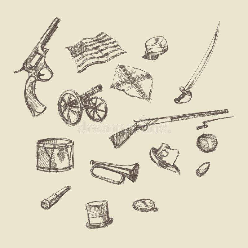 Illustrazione del disegno della mano dell'oggetto della guerra civile illustrazione di stock