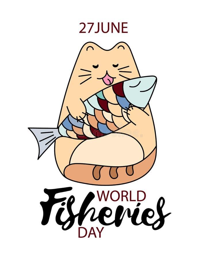 Illustrazione del disegno della mano di giorno delle industrie della pesca Gatto divertente del fumetto con l'immagine del pesce  royalty illustrazione gratis